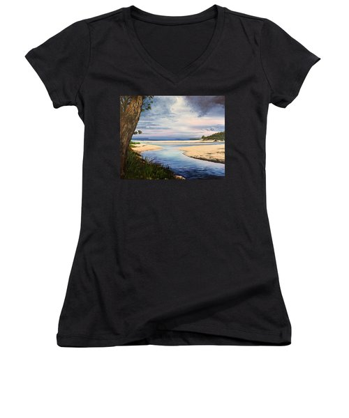 Storm Over Moona Moona Creek Women's V-Neck T-Shirt