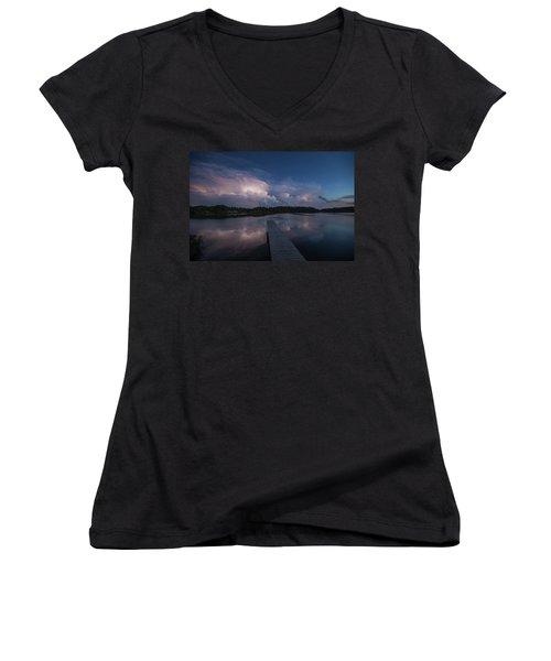 Women's V-Neck T-Shirt (Junior Cut) featuring the photograph Storm Reflection by Aaron J Groen