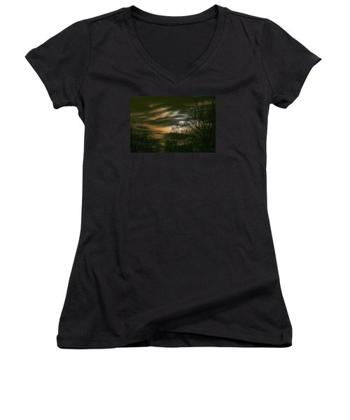 Storm Rollin' In Women's V-Neck T-Shirt (Junior Cut) by J R Seymour