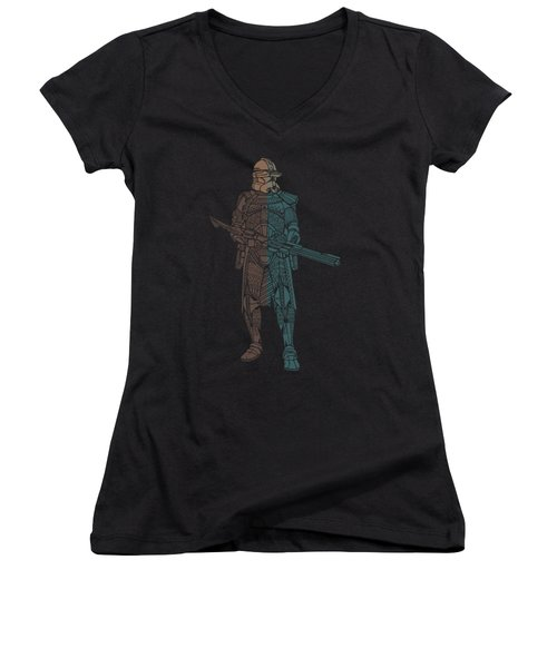 Stormtrooper Samurai - Star Wars Art - Minimal Women's V-Neck (Athletic Fit)