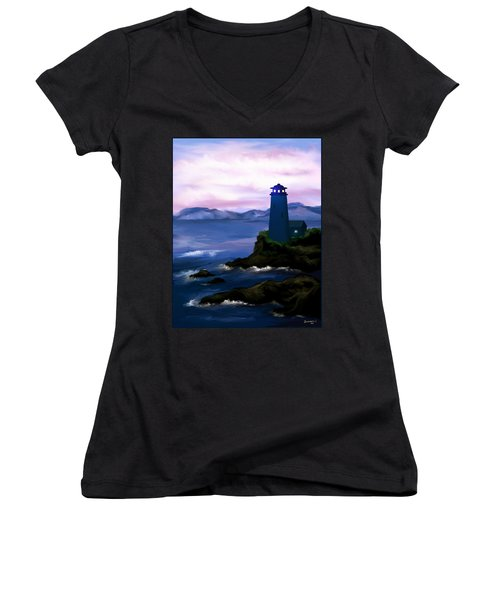 Women's V-Neck T-Shirt (Junior Cut) featuring the painting Stormy Blue Night by Susan Kinney