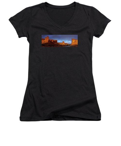 Women's V-Neck T-Shirt (Junior Cut) featuring the photograph Stormy Desert by Chad Dutson