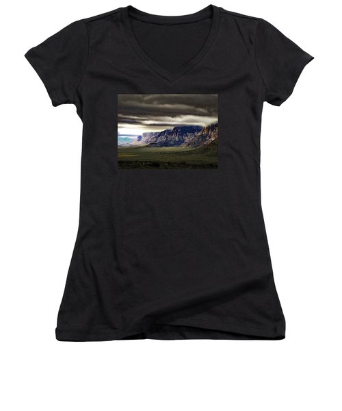 Stormy Morning In Red Rock Canyon Women's V-Neck T-Shirt (Junior Cut) by Alan Socolik