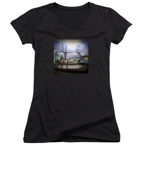 Women's V-Neck T-Shirt (Junior Cut) featuring the photograph Stormy Seas - Ship In A Bottle by Bill Barber
