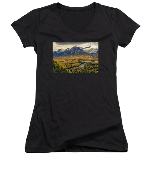 Stormy Sunrise Over The Grand Tetons And Snake River Women's V-Neck (Athletic Fit)