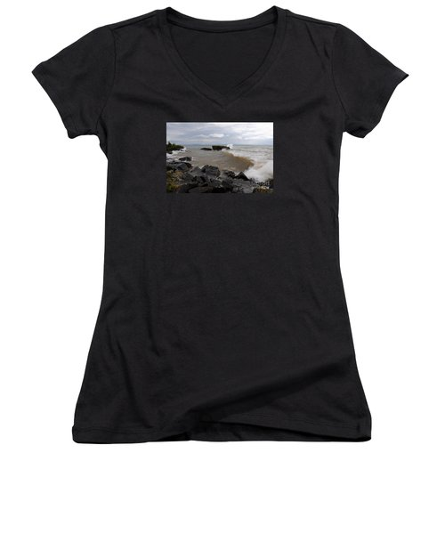 Women's V-Neck T-Shirt (Junior Cut) featuring the photograph Stormy Superior Morning by Sandra Updyke