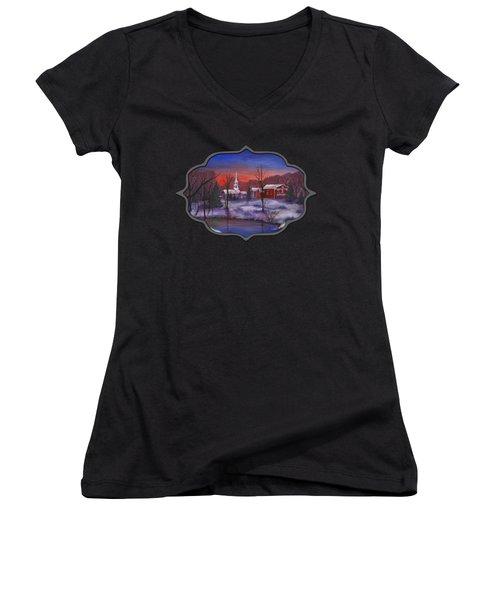 Stowe - Vermont Women's V-Neck T-Shirt (Junior Cut) by Anastasiya Malakhova