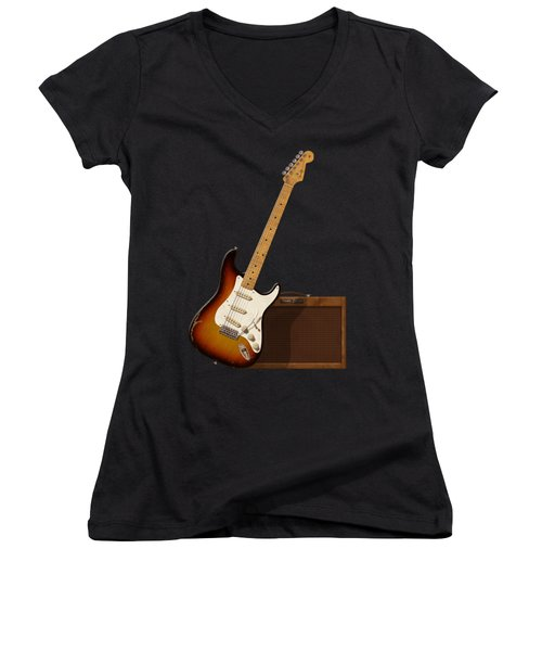 Strat And Tweed Amp Women's V-Neck T-Shirt (Junior Cut) by WB Johnston