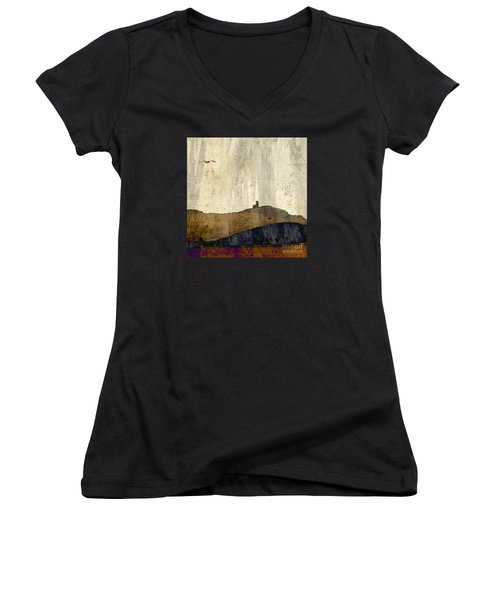 Women's V-Neck T-Shirt (Junior Cut) featuring the photograph Strata With Lighthouse And Gull by LemonArt Photography
