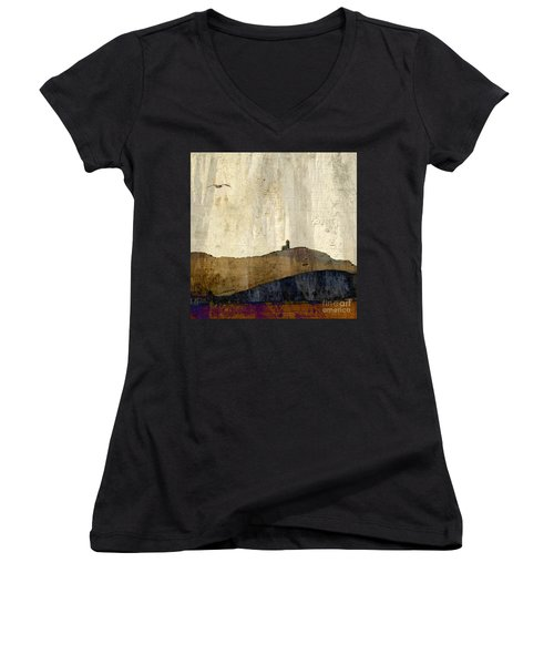 Strata With Lighthouse And Gull Women's V-Neck
