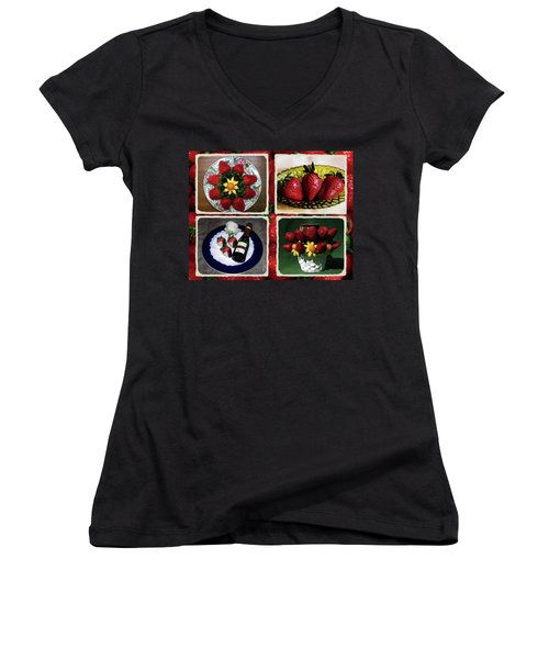 Women's V-Neck T-Shirt (Junior Cut) featuring the photograph Strawberry Collage by Sally Weigand