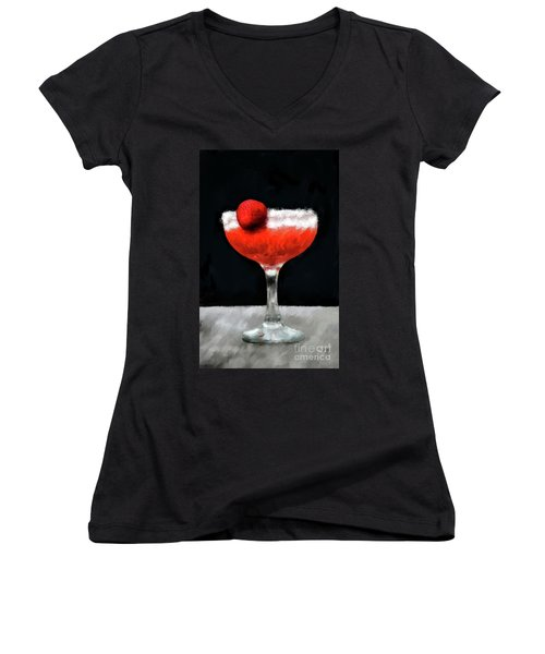 Women's V-Neck T-Shirt featuring the photograph Strawberry Margarita by Lois Bryan