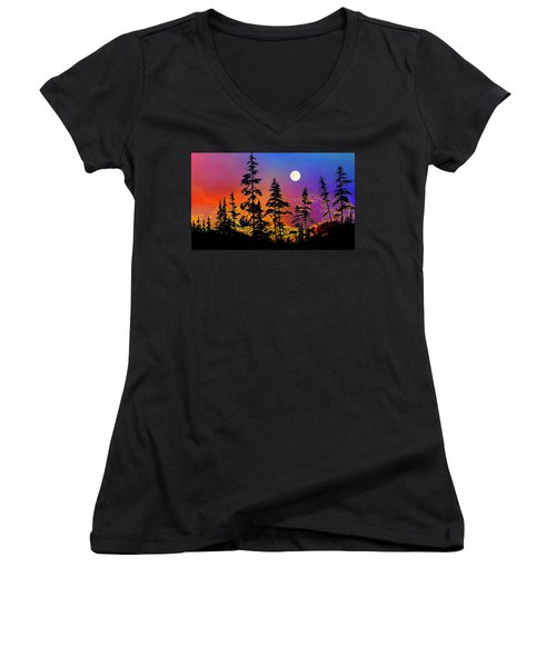 Women's V-Neck T-Shirt featuring the painting Strawberry Moon Sunset by Hanne Lore Koehler