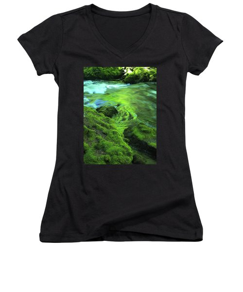 Stream Above Whitehorse Falls Women's V-Neck (Athletic Fit)