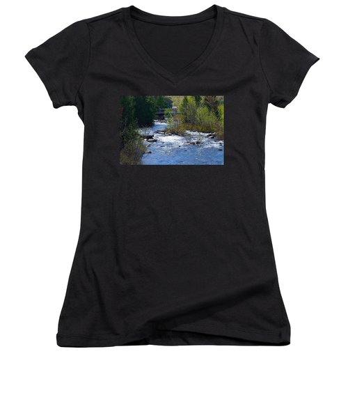 Stream In Spring Women's V-Neck T-Shirt (Junior Cut) by David Porteus