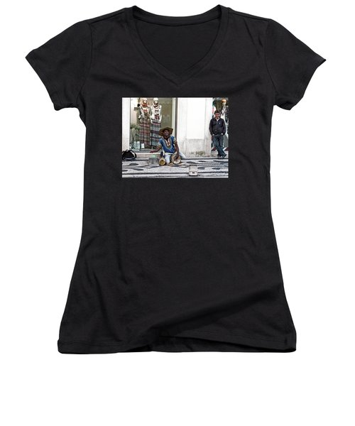 Women's V-Neck featuring the photograph Street Music, Lisboa by Lorraine Devon Wilke