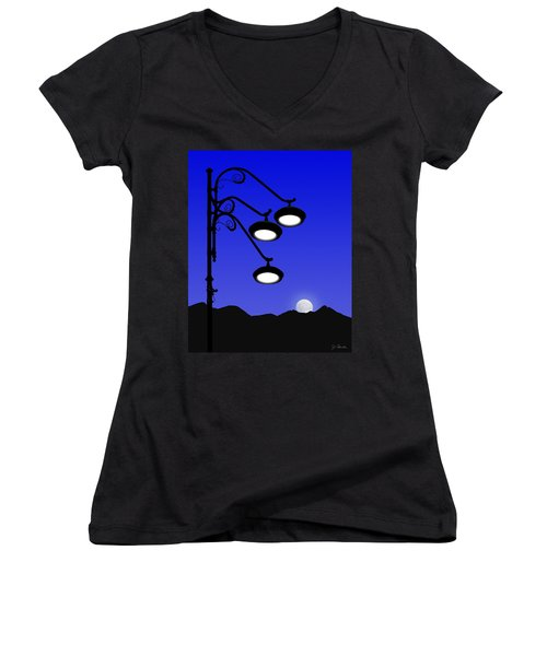 Street Light And Moonrise Women's V-Neck (Athletic Fit)