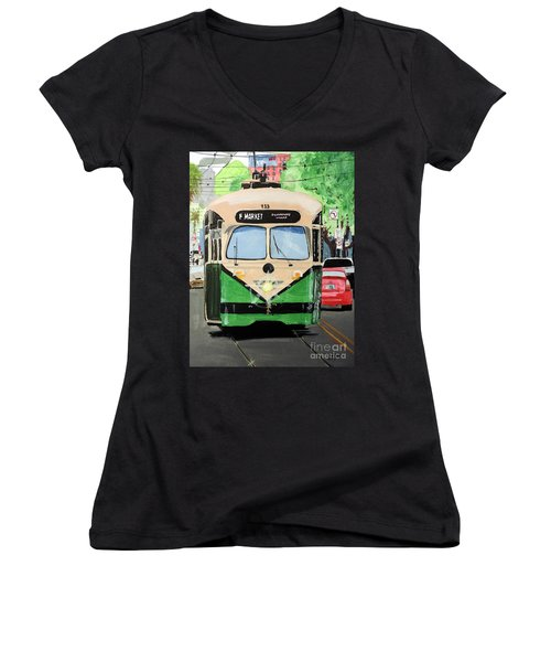 Streetcar Not Named Desire Women's V-Neck T-Shirt (Junior Cut) by Tom Riggs