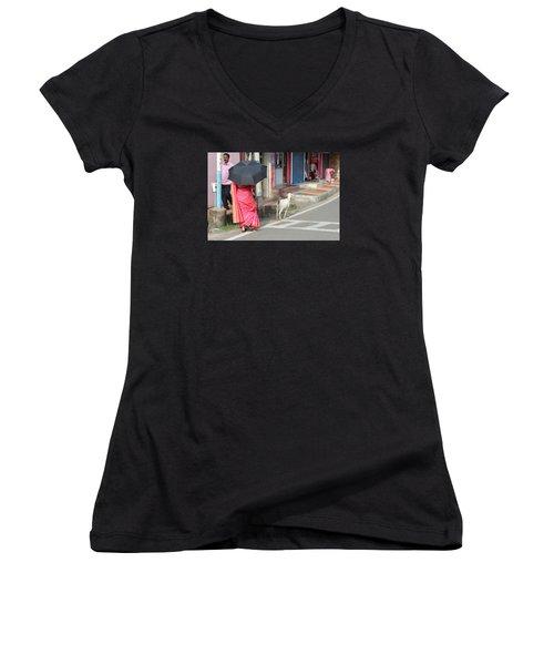 Streets Of Kochi Women's V-Neck T-Shirt (Junior Cut) by Jennifer Mazzucco