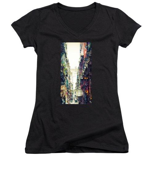 Streetscape 1 Women's V-Neck T-Shirt (Junior Cut) by David Hansen