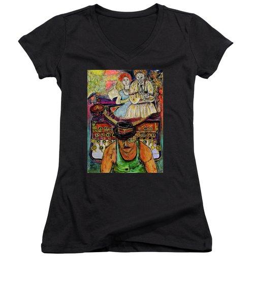 Strife  Women's V-Neck T-Shirt (Junior Cut) by Lindsay Strubbe