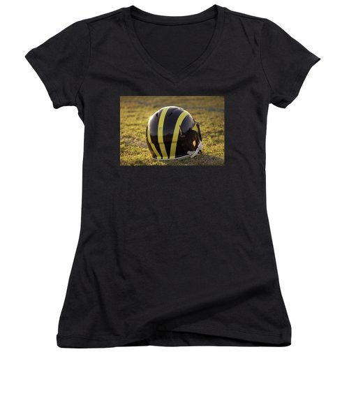 Striped Wolverine Helmet On The Field At Dawn Women's V-Neck (Athletic Fit)