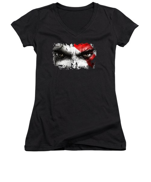 Strong Warrior Women's V-Neck T-Shirt (Junior Cut) by Opoble Opoble