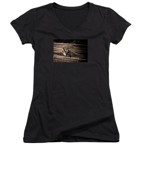 Stuck Women's V-Neck T-Shirt (Junior Cut) by Carlee Ojeda