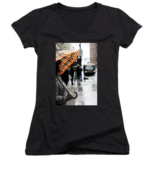 Women's V-Neck T-Shirt (Junior Cut) featuring the photograph Stuck Down by Empty Wall