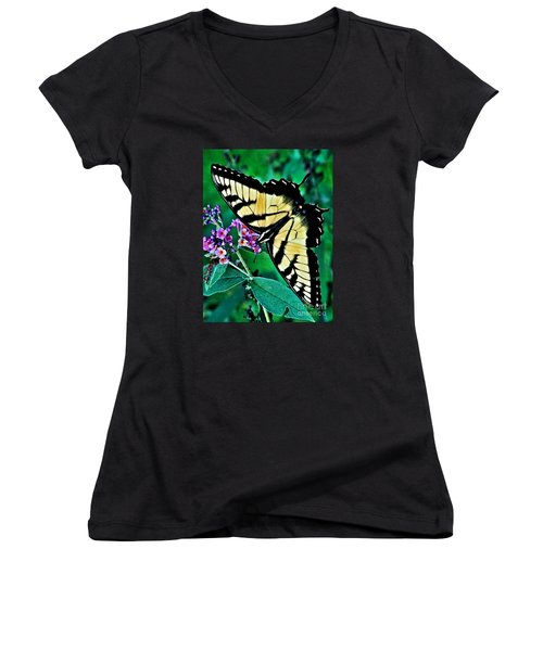 Stunning Monarch Women's V-Neck T-Shirt (Junior Cut) by Christy Ricafrente