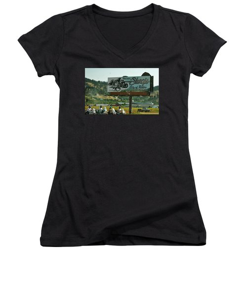 Sturgis City Of Riders Women's V-Neck T-Shirt (Junior Cut) by Anna Ruzsan