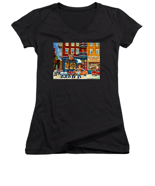 St.viateur Bagel Hockey Montreal Women's V-Neck T-Shirt