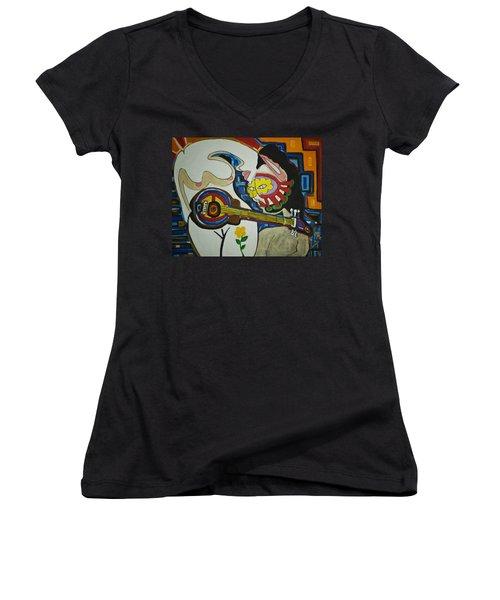 Subtle Love Women's V-Neck T-Shirt (Junior Cut) by Jose Rojas