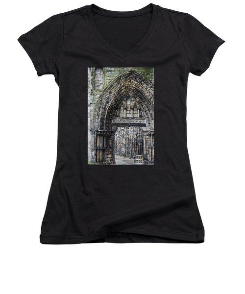 Women's V-Neck T-Shirt (Junior Cut) featuring the photograph Subtle Shades Of Stone Holyrood Edinburgh Scotland by Sally Ross