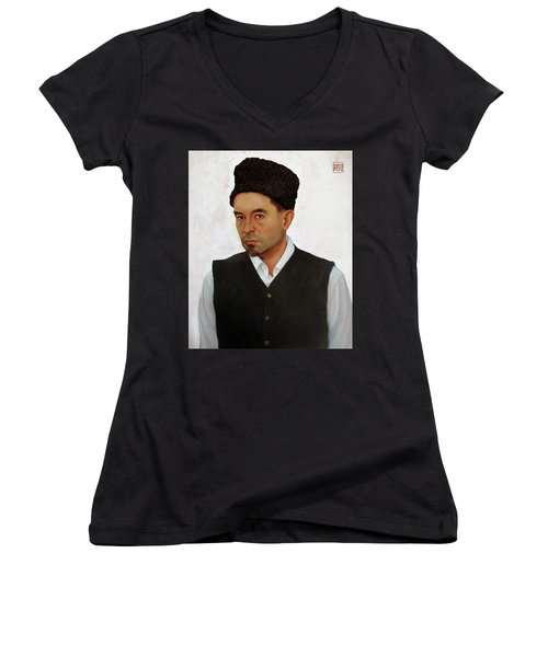 Sufi With Astrakhan Hat Women's V-Neck T-Shirt