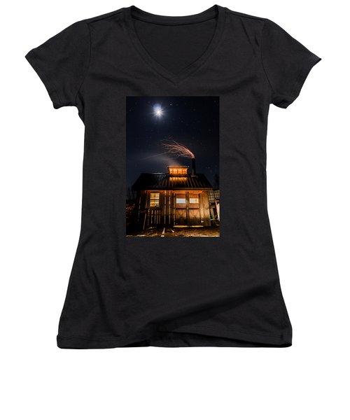 Sugar House At Night Women's V-Neck T-Shirt (Junior Cut) by Tim Kirchoff