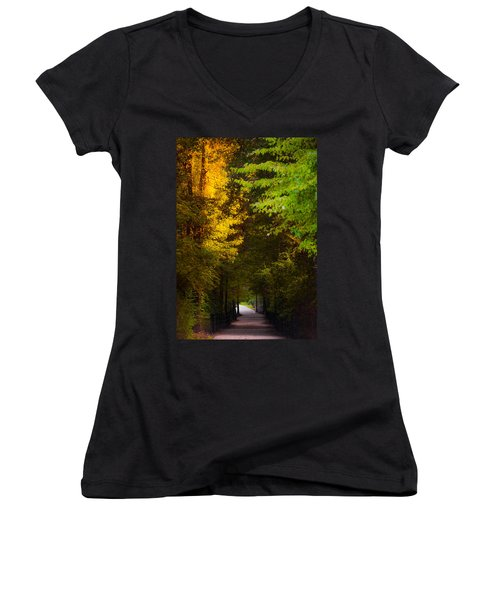 Summer And Fall Collide Women's V-Neck T-Shirt (Junior Cut) by Parker Cunningham
