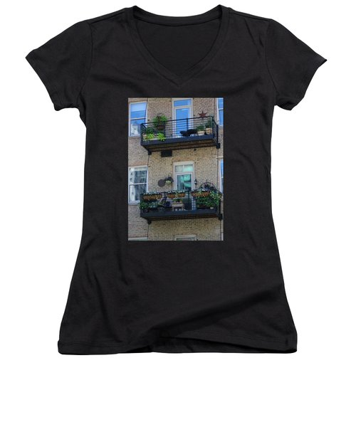 Summer Balconies In Chicago Illinois Women's V-Neck