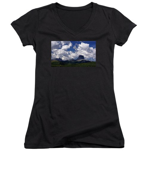 Summer Day At Chief Mountain Women's V-Neck (Athletic Fit)