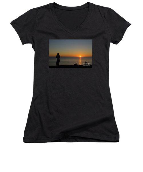 Women's V-Neck T-Shirt (Junior Cut) featuring the photograph Summer Evening By The Coast by Kennerth and Birgitta Kullman