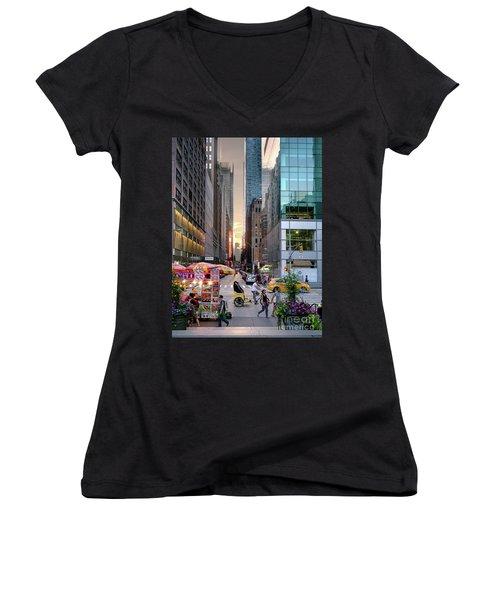 Women's V-Neck T-Shirt (Junior Cut) featuring the photograph Summer Evening, New York City  -17705-17711 by John Bald