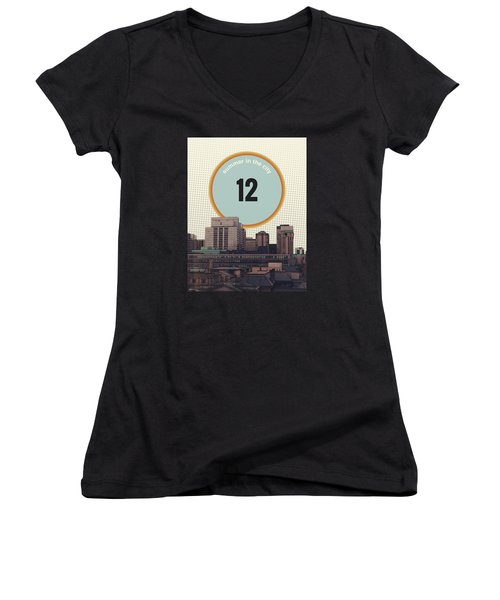 Women's V-Neck T-Shirt (Junior Cut) featuring the photograph Summer In The City by Phil Perkins