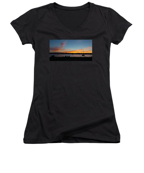 Summer Sunset With Friends Women's V-Neck T-Shirt (Junior Cut) by Kenneth Cole