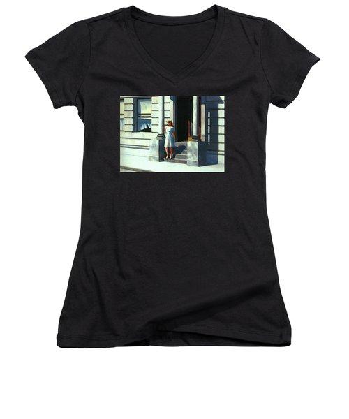 Summertime  Women's V-Neck T-Shirt (Junior Cut) by Edward Hopper