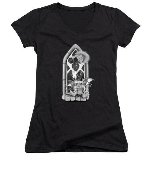 Summoned Pet - Black And White Fantasy Art Women's V-Neck (Athletic Fit)