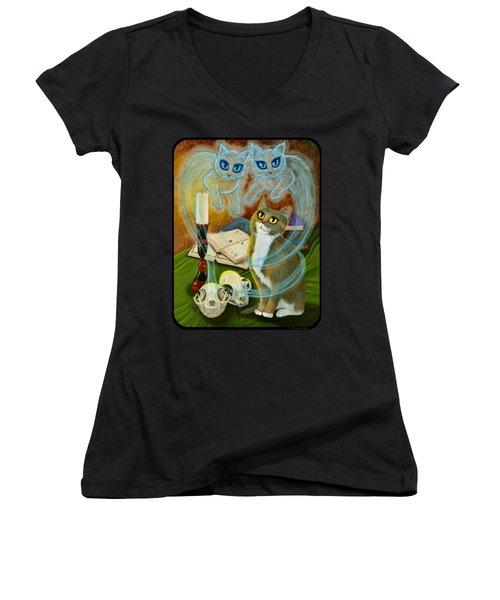 Summoning Old Friends - Ghost Cats Magic Women's V-Neck