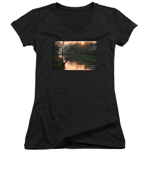 Women's V-Neck T-Shirt (Junior Cut) featuring the photograph Sun Above The Trees by Paula Guttilla