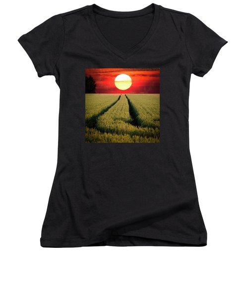 Sun Burn Women's V-Neck T-Shirt (Junior Cut) by Teemu Tretjakov