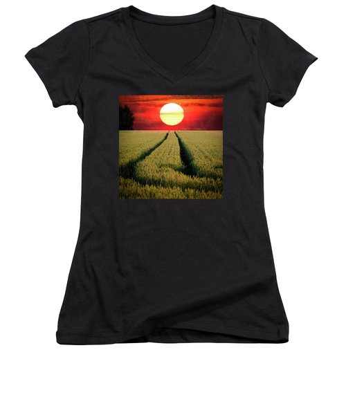 Sun Burn Women's V-Neck T-Shirt