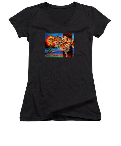 Sun Dance Women's V-Neck T-Shirt (Junior Cut) by Sherry Shipley